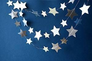 Silver star garland, Star garland, Twinkle twinkle little star, Metallic garland, Paper garland, Birthday decoration, Shimmer garland