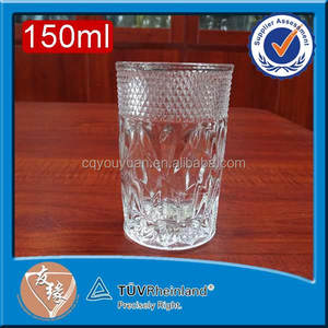 Glass drinkware set 150ml small embossed cylinder shape cup thick bottom glass tumbler