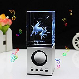 LIWUYOU Valentines Day Gift Engraved Crystal 3D Constellation of Capricorn Colorful Small Portable Speaker, Capricorn
