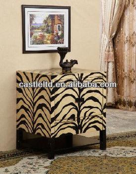 Beau CF30118 Zebra Accent Side End Table Zebra Night Stand