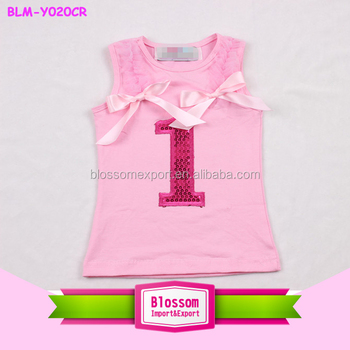 Sequin Number New Born Baby Girls First Birthday Tank Top Infant & Toddler Birthday Sleeveless Shirts For Babies