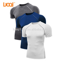 LuoQi Manufacturer Men's Custom Printing Short Sleeve Athletic Compression Sports Dry Fit T Shirt