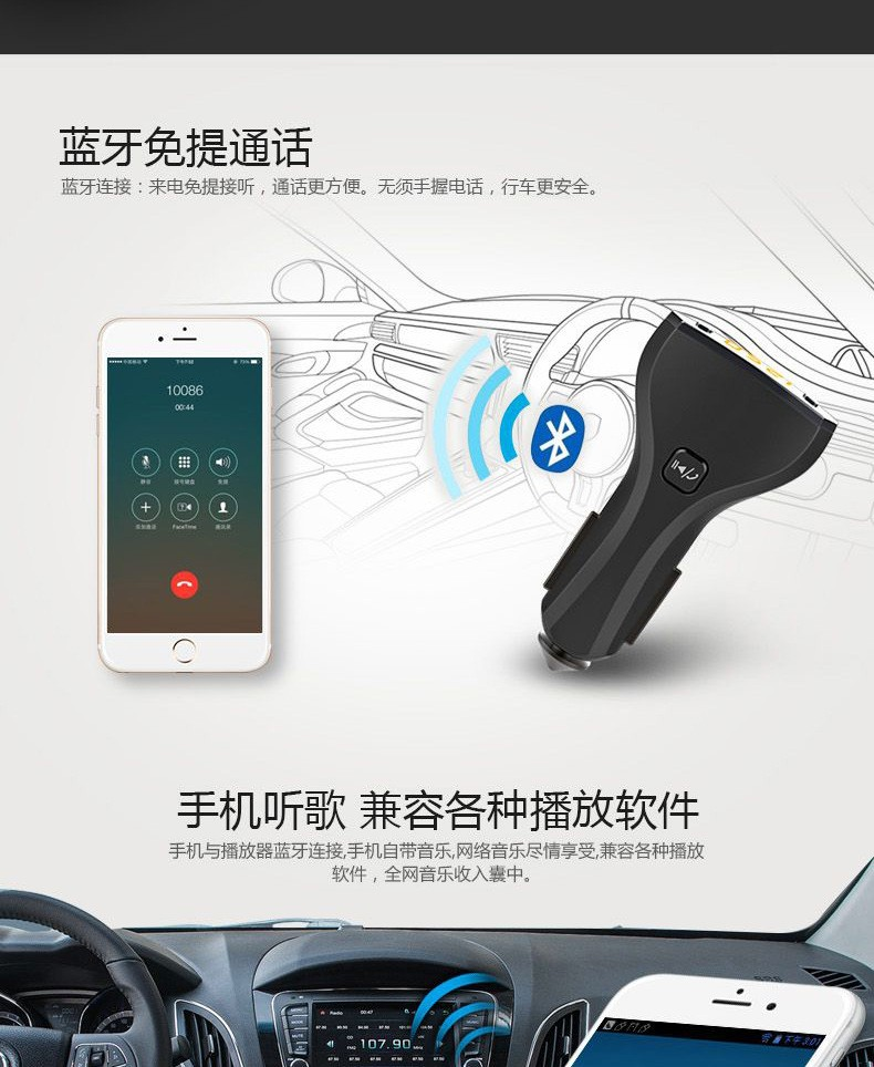 Free shipping C30S Bluetooth Car kit Car Bluetooth Speakerphone Smart Low Voltage remind FM Transmitter Dual USB Car Charger