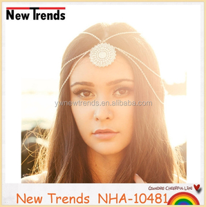 Latest design fashion lady flower head chain hair jewelry
