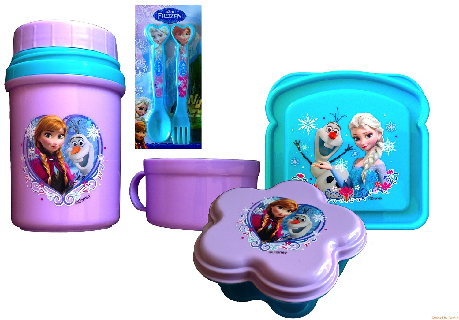 Disney Frozen Thermal Drink ware Complete Lunch Gift Set Elsa,Olaf, and Anna, 4 Piece Lunch Gift Set Includes Utensils