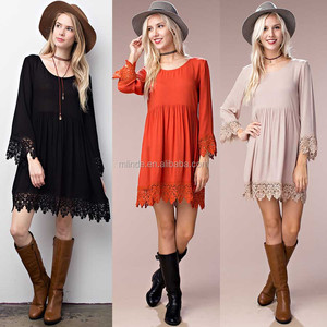 Fancy Dresses Girls Women Texured Solid Woven 3/4 Sleeves Beach Dress Scoop Neck Crochet Dress With Scallop Lace Hem