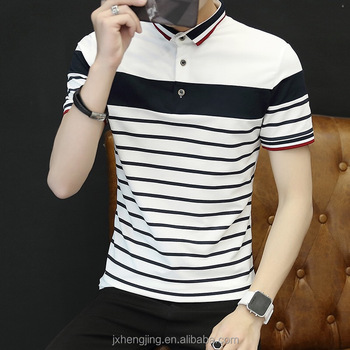 summer new fashion casual stripes clothes for men wear polo shirts
