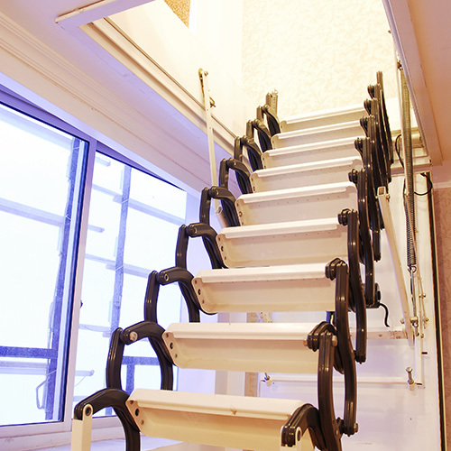 Aluminum Folding Attic Ladder With Handrail Buy Folding