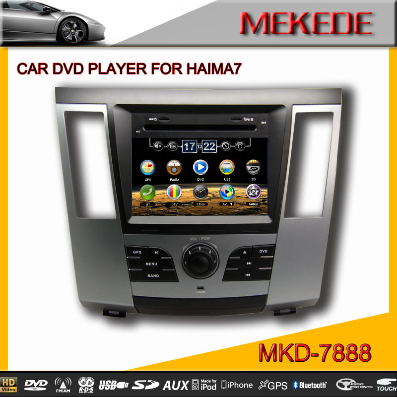 MTK CPU MTK3336NCG 8'' TFT LCD Car DVD player for HAIMA 7 with BT TV IPOD RDS built in MIC 10EQ Ban 10 virtual disc