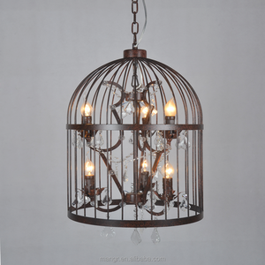 Pendant-Light-MG-1033 Clear glass hanging lighting cheap price loft lamps E27 vintage iron cage bar pendant lamp