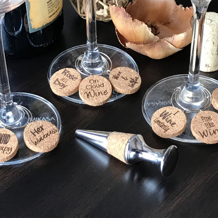 Holiday gift party decoration christmas cork wine glass charms set with bottle stopper
