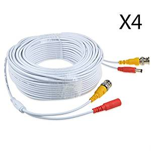 JerGO Professional Grade Siamese Combo Coaxial Cable Pre-made All-in-One BNC Video Power Cable for 1080P /720P, TVI, CVI, AHD and HD-SDI Camera and Analog CCTV Camera ( White 150Ft )(4 Pack)