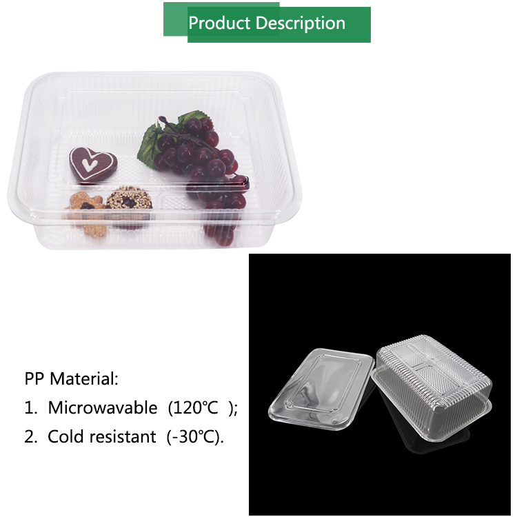 Vegetable fruit bread pastry biscuit packaging tray PET plastic food container box for sale