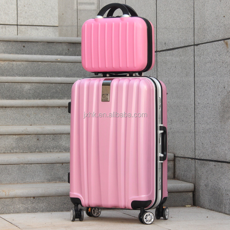 wholesale lots of PC travel trolley luggage set hard case with aluminum frame