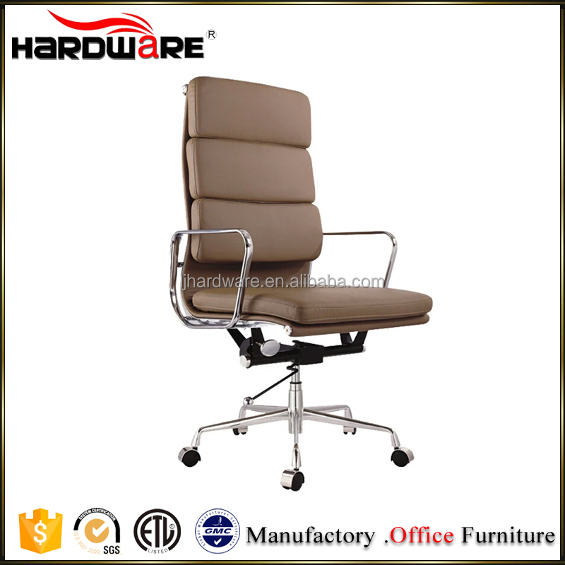 high quality modern leather office chair adjustable aluminium alloy legs / office rolling chair