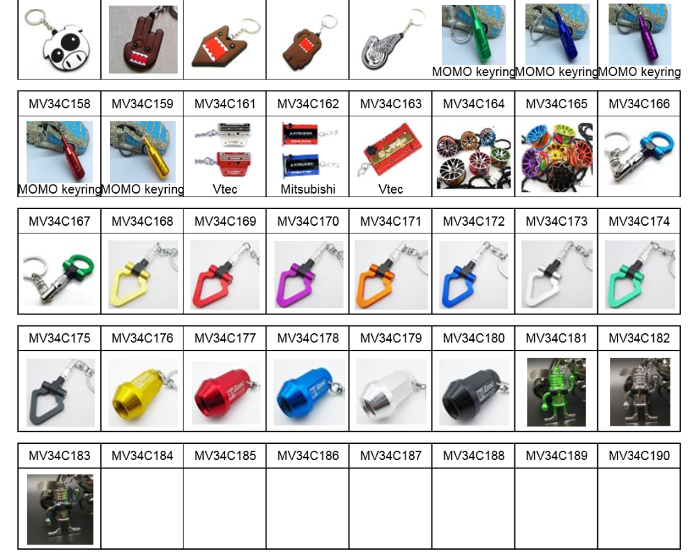 Wholesale mixed types metal Auto Parts Keychains