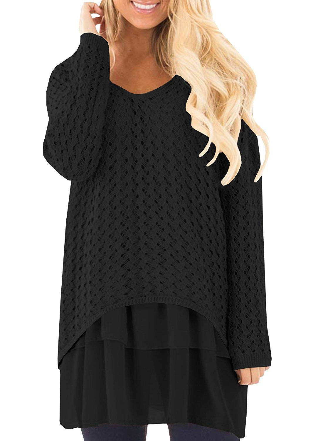 Get Quotations · Liyuandian Womens Knitted Sweater V- Neck Casual Loose  Baggy Long Pullover with Chiffon Ruffle 6894a19ca