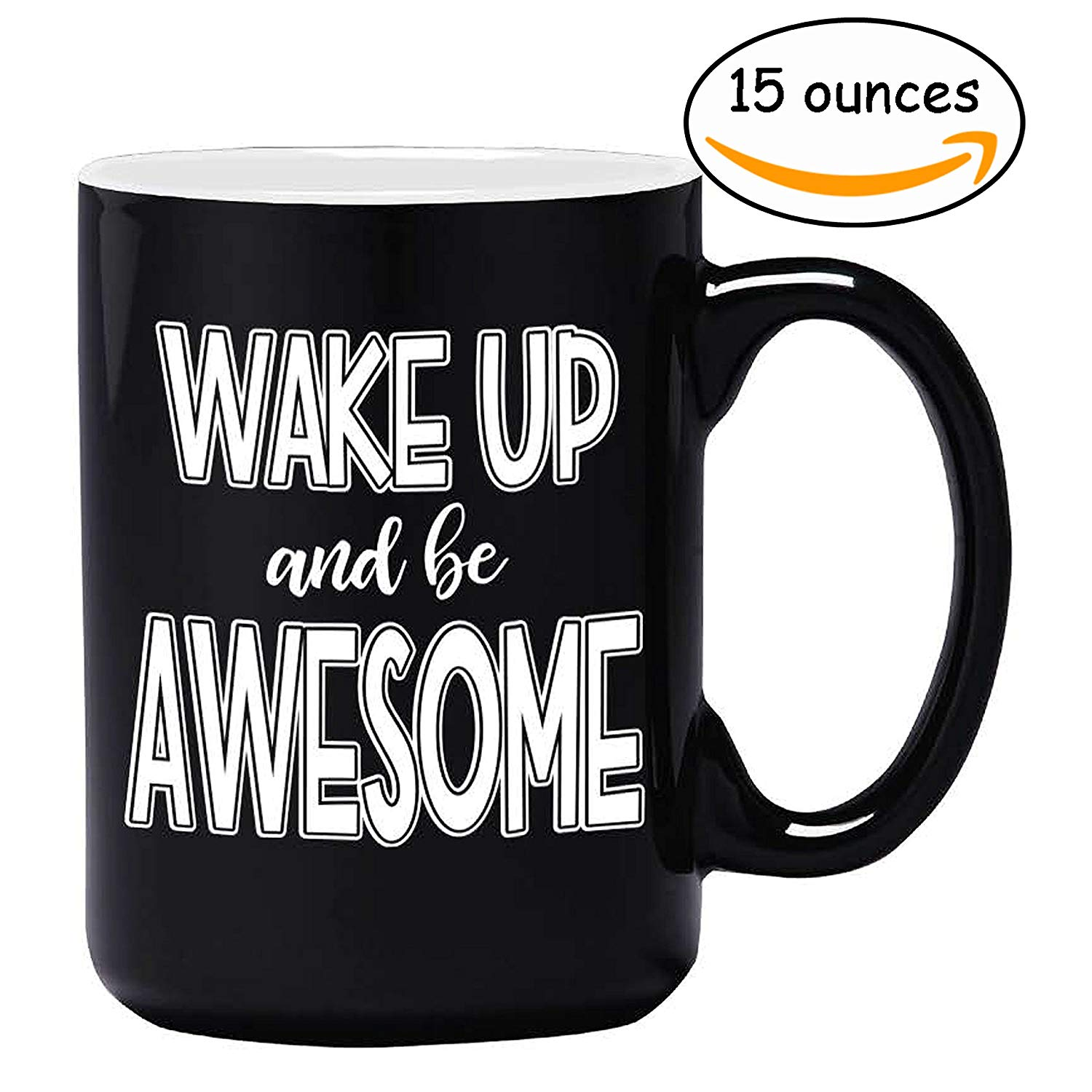 Large Funny Coffee Mug - Wake Up and Be Awesome - Unique Fun Gifts for Men, Women, Mom, Dad, Brother, Sister, Teacher, Coworkers, Boss Under $20 - Handmade Coffee Cups & Mugs with Quotes, 15 oz