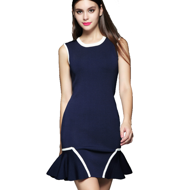 woman vintage winter dress free shipping 2015 black dark blue sleeveless ruffle patchwork trumpet fashion tank casual dresses
