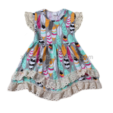 2016 latest feather Frocks Designs Children cotton Clothes Fancy casual Girl Dresses For Kids