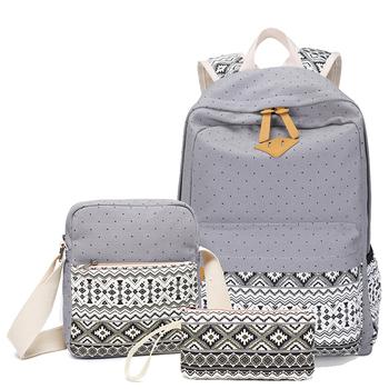 Trendy Book Bags Teen School College Mochila Escolar Feminina Elegant Women Bagpack Girls 3pcs In 1 Bag Low Moq Vintage Backpack Buy Low Moq Vintage