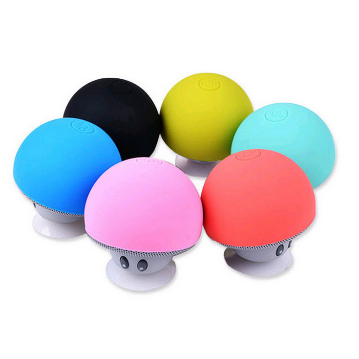 Portable Mini Mushroom Kickstand Stereo Subwoofer Bluetooth Speaker with Mic Suction Cup Holder Bracket for iPhone