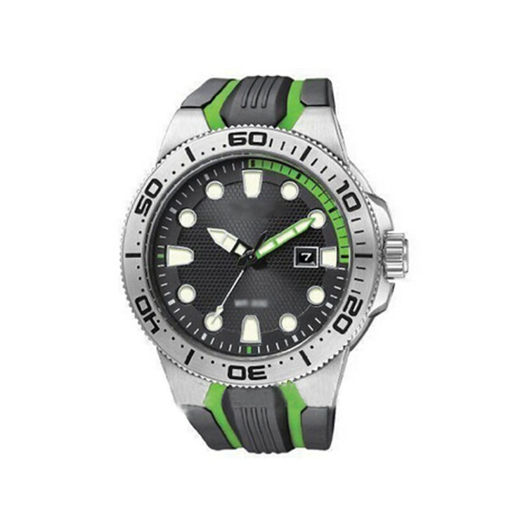 Mens Rubber Strap Quartz Stainless Steel Back Diver Watch