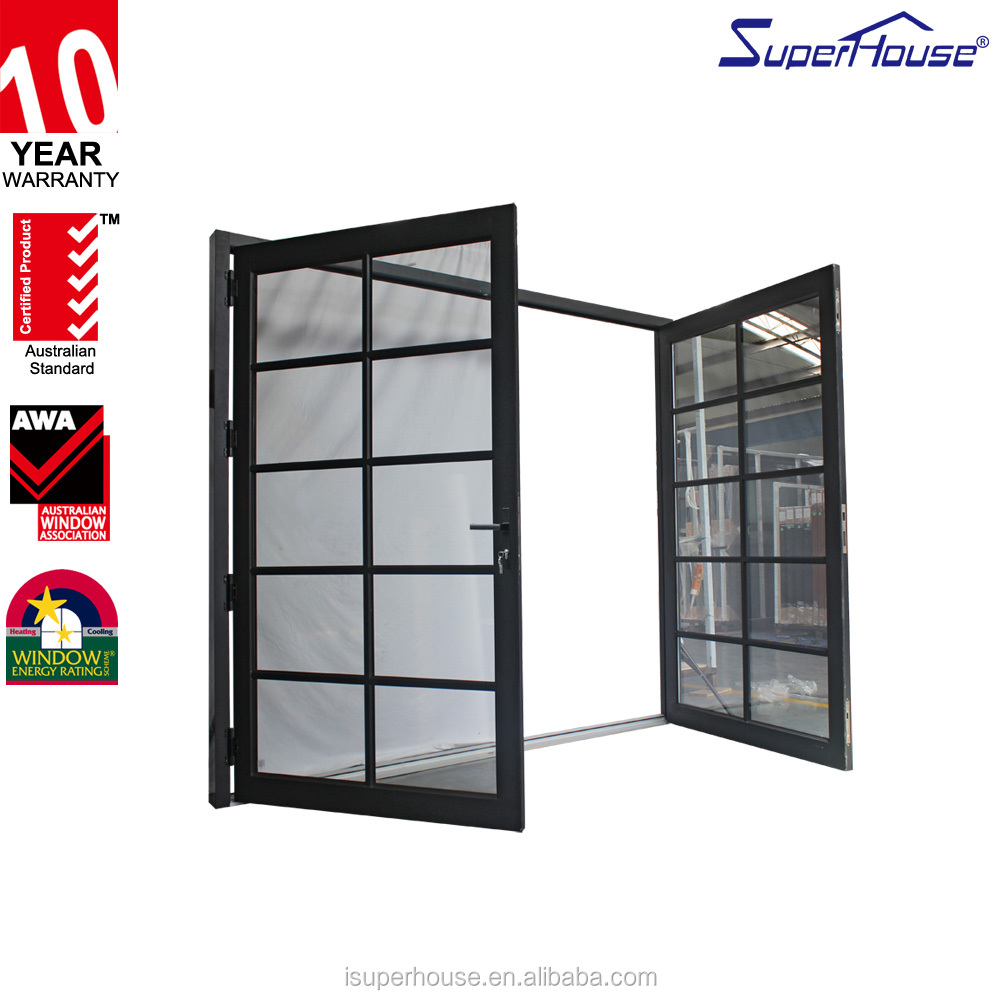 AS2047 And NFRC Standard Exterior Aluminium Glass Impact Resistant double Swing hinges Door grids design