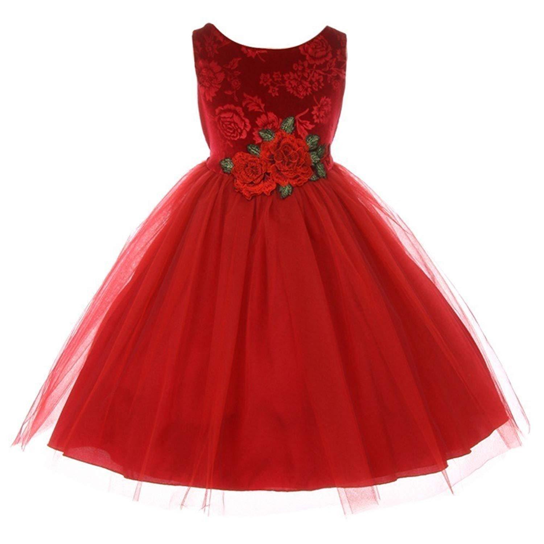 get quotations kids dream little girls red floral velvet rose tulle christmas dress 2 - Girls Red Christmas Dress