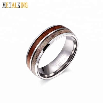 8mm Mens Womens Tungsten Carbide Ring Wedding Band With Natural Wood