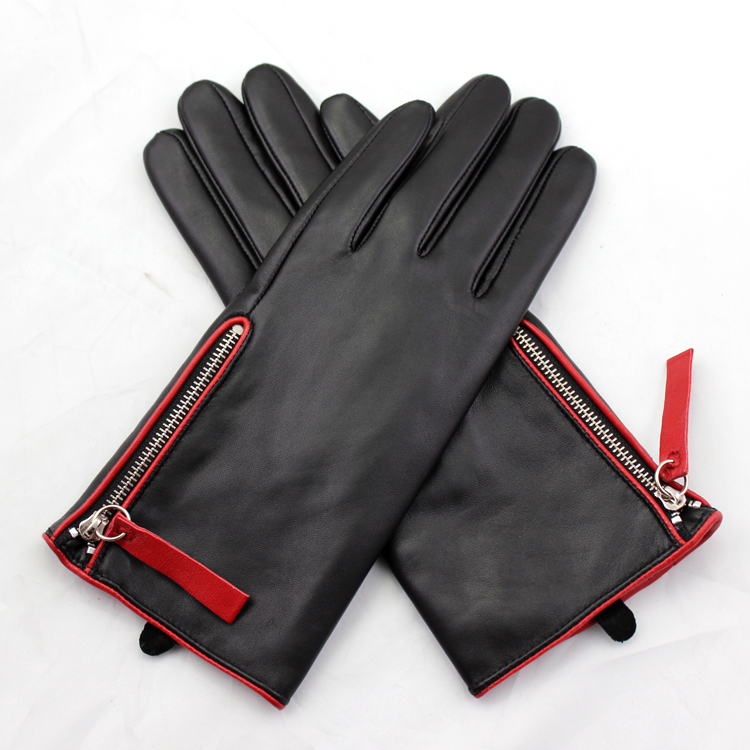 fashion ladies sheepskin leather gloves with silver zipper