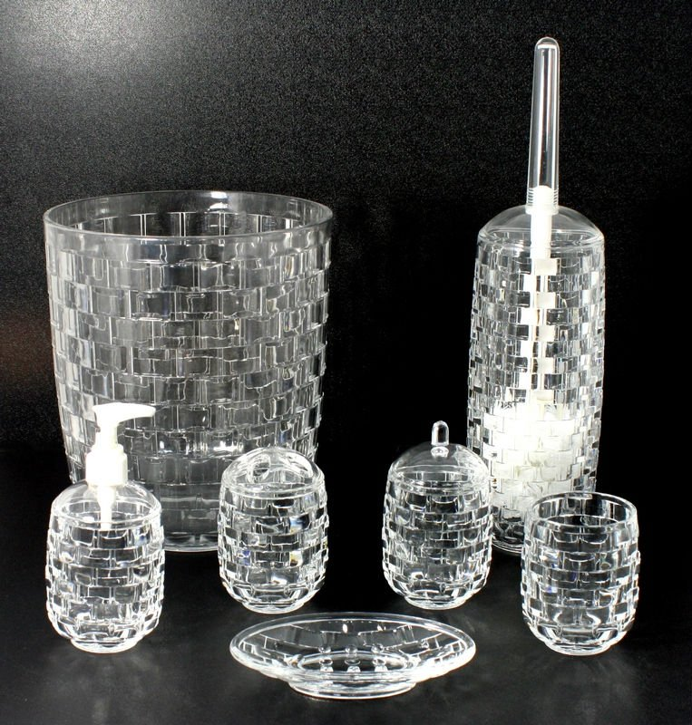 Basket Weave Clear Bathroom Accessories Toilet Brush Soap Dish Product On Alibaba