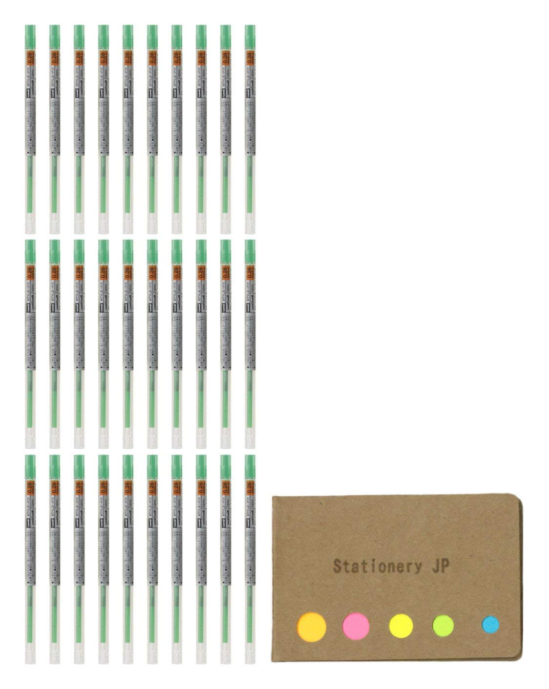 Uni-ball Signo Gel Ink Refills for Uni Style Fit Gel Multi Pen 0.28mm Green Ink, 30-pack, Sticky Notes Value Set