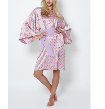 5d6f874a1cf3 Wholesale Cheap Pink Prints Sexy Chinese Women Pure Silk Robe with Wide  Sleeves