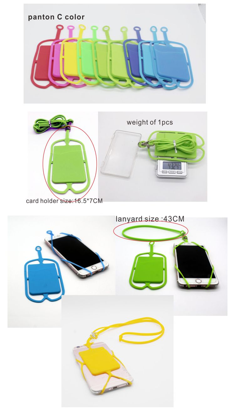 universal silicone cellphone necklace holder with card wallet