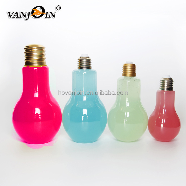 250ml beverage drinking light bulb shape plastic juice bottle,storage glass vial factory glass with metal cap