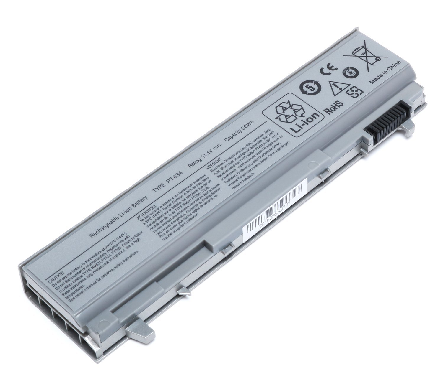 11.1V 56Wh 6-Cell New Laptop Battery for Dell PT434 Latitude E6400 E6410 E6500 E6510 Precision M2400 M4400 M4500 M6500 P/N: 4M529 KY265 KY470 KY471 PT434 NM631 312-0749 312-0748