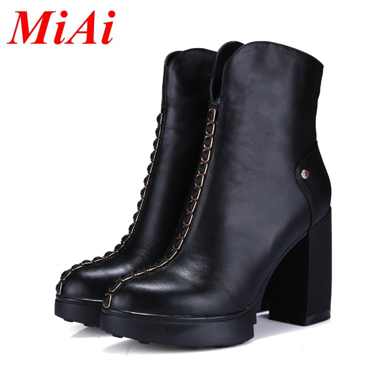 fashion shoes women ankle boots genuine leather round toe casual winter boots women high heels riding boots black zipper shoes