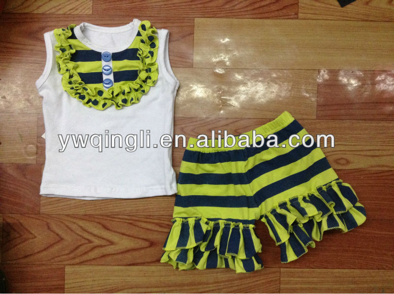 Boutique Imported Childrens Clothing Sets Kids White Tank Top With Grey Ruffle Pants Sets Baby Cotton Outfit Sets