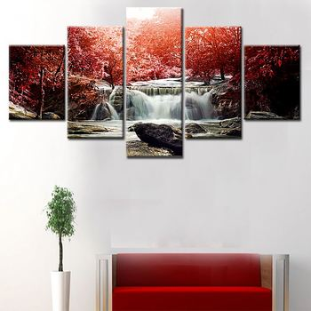 Hd Waterfall Landscape 5 Panel Wall Art Large Canvas Painting