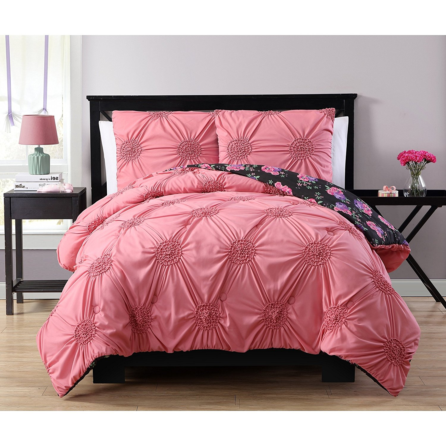 2 Piece Girls Black Pink Purple Floral Themed Comforter Twin Set, Girly All Over Flower Garden Bedding, Chic Diamond Tuft Pinned Tuck Tufted Pin Tucked Pinch Pleated Gathered Textured, Polyester