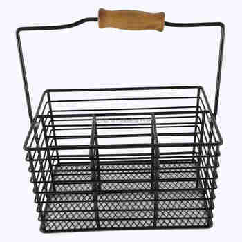 New Europe style Cutlery Caddy, Metal divided cutlery caddy with folding carry handle F0242