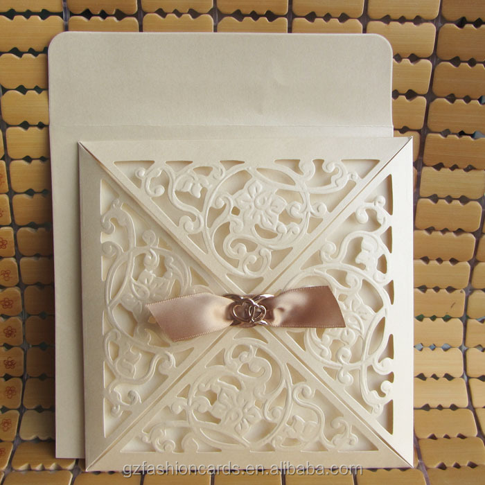 square laser cut wedding cards with diamond and ribbon buy laser