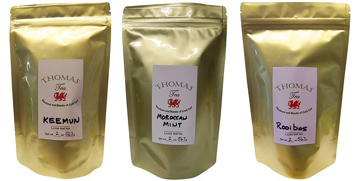 Premium African Loose Tea Trio - Keemun, Moroccan Mint, & Rooibos - 2 Oz. Each Bag