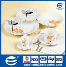 nice ceramic set with 220cc plus 90cc cup and plates porcelain 42pcs round dinner set factory outlet