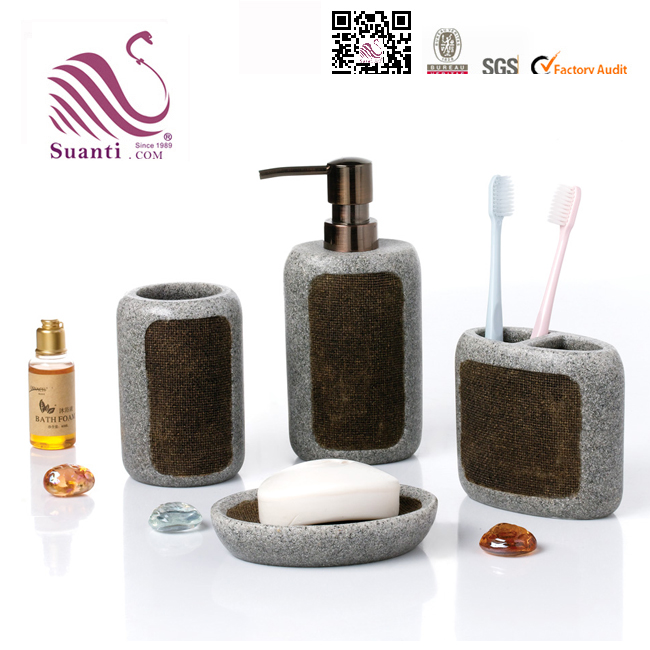 Bathing Products 4 PCS Polystone Material Bathroom Accessory Set-New and Popular Items
