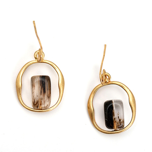 New Trend Fashion Style Quartz Drop Earrings Vintage Gold Plated Geometric Shape Dangle Earrings Jewelry