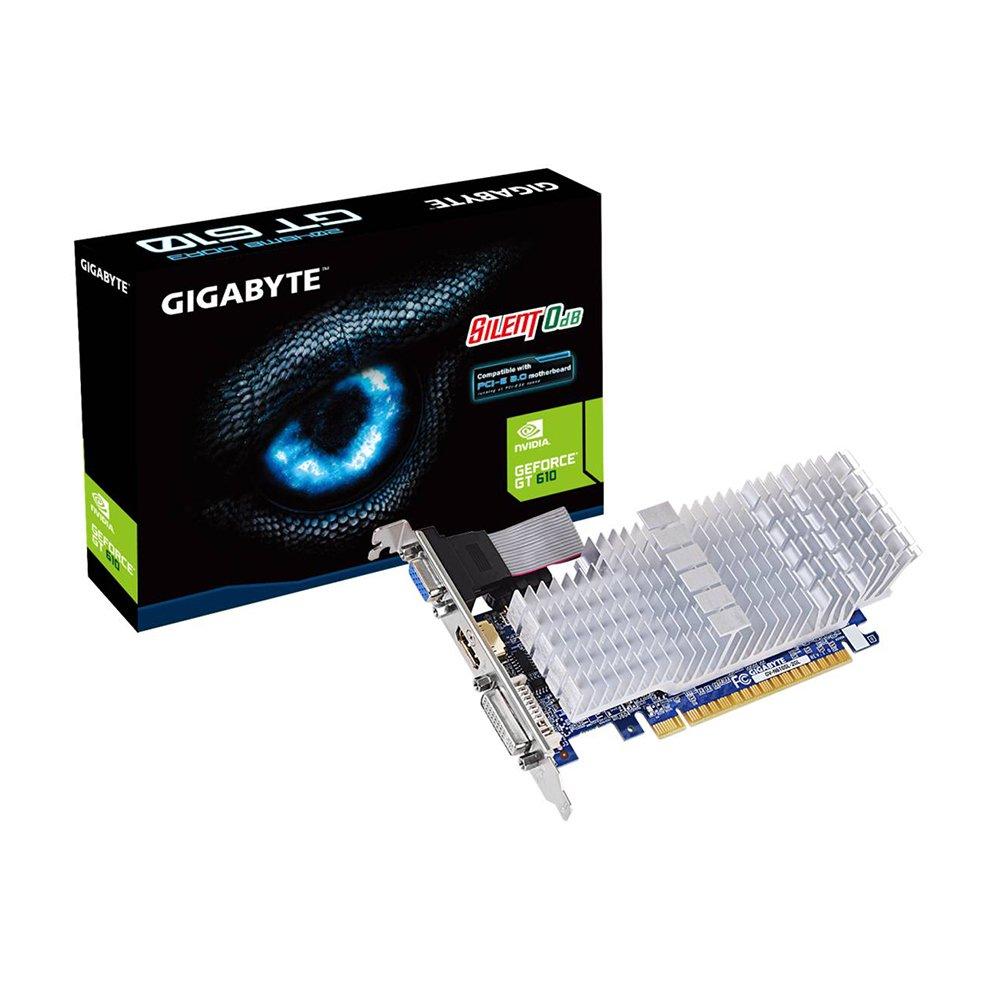 Gigabyte GT610 DDR3-2GB DVI/D-SUB/HDMI LP PASSIVE Graphics Card GV-N610SL-2GL