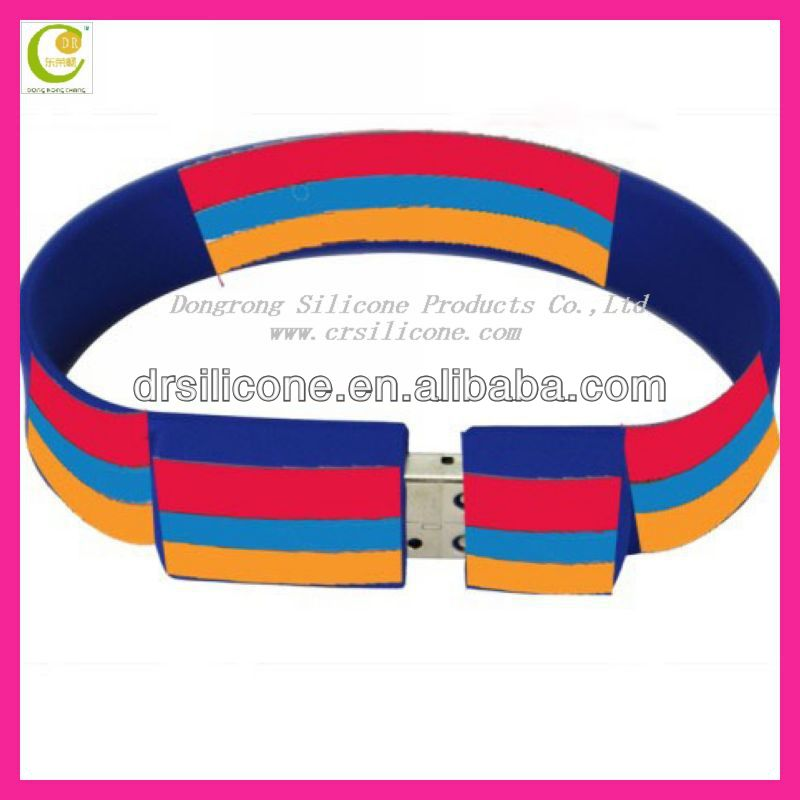 Eco-friendly Material silicon usb wrist band
