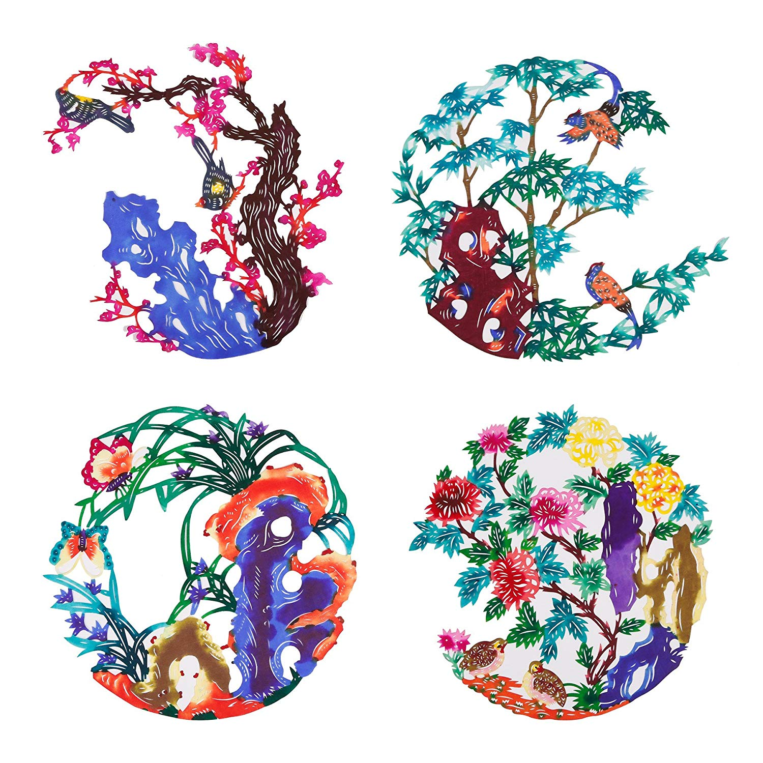 Shayier China Intangible Cultural Heritage - Chinese Color Handmade Paper-cut (Plum & orchid & bamboo & chrysanthemum)